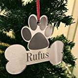 Personalised Christmas Tree Decoration - Xmas Bauble Engraved Gift - Dog Bone with Optional Name Picture Photo Frame -L1121