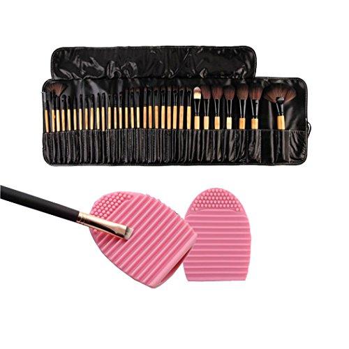 Susenstone 1PC Nettoyage Gant Lavage Brosse Épurateur Pension + 32PCs Pinceaux de Maquillage