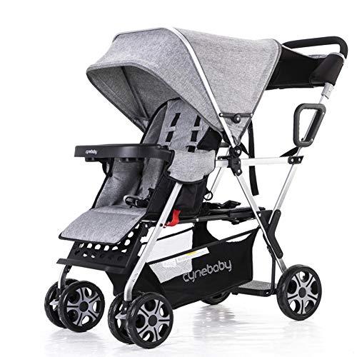 WYX-Stroller Doppelkinderwagen Kinderwagen Tandem Buggy Neugeborenen Kinderwagen Mit Verstellbarer Rückenlehne Und Fußstütze Für 0 Bis 36 Monate