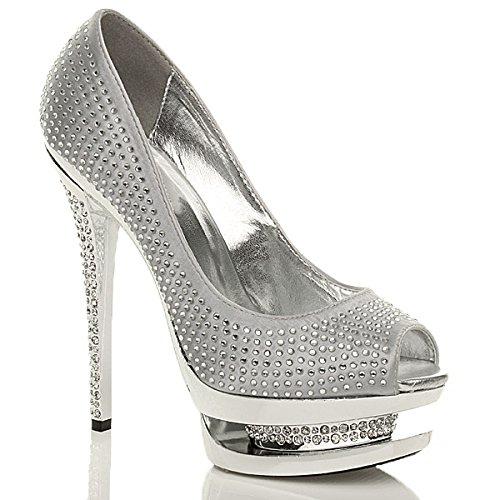 Donna tacco alto diamante nozze sera sandali con zeppa scarpe piattaforma taglia Argento