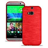 LetiStore HTC One M8 Hülle - Handyhülle Aus Silikon - Kratzfeste Und Stoßfeste Schutzhülle - TPU Handy Case Bumper Backcover - Rot Metallic