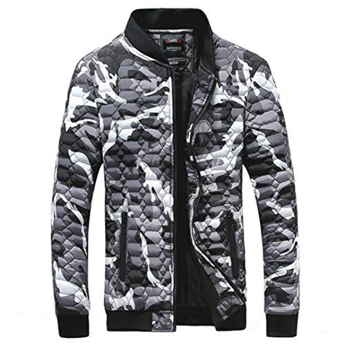 BGFHDLWESR Winterjacke Herrenmode Parka Herrenbekleidung Jacke Polyester Gepolsterter Mantel Warm Gray L