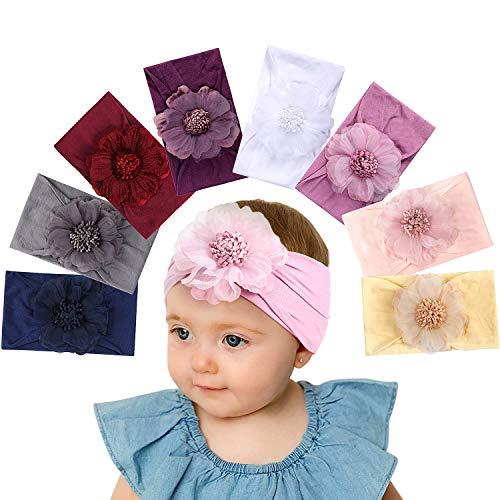 Tacobear Haarband Baby Stirnband Baby Mädchen elastische Haarband Bowknot Kopfband Turban Stirnband Schleife Baby Haarschmuck für Baby Kleinkinder (8 Blume Baby Stirnband A)