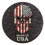 EZIOLY Wanduhr Totenkopf der Amerikanischen Flagge, 25,4 cm, geräuschlos, Nicht tickend, Quarz, batteriebetrieben, Runde Wanduhren für Zuhause/Büro/Schule