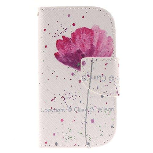 Samsung Galaxy S3 Mini i8190 Hülle,MCHSHOP PU Leder Cover Tasche Soft Case Schutz Hülle Handyhülle Bunt Painted Silikon Back Cover Bumper Schutz Hard Etui Schale Schutzhüllen mit Stand Magnetverschlus Schön violette Blume