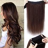 TESS Extensions Echthaar 1 Tresse Doppelt Dicke Draht komplette Haarverlängerung guenstig Haar Extensions Glatt 22