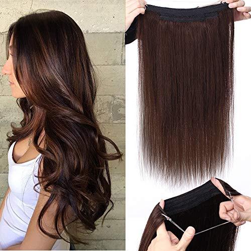 """TESS Extensions Echthaar 1 Tresse Doppelt Dicke Draht komplette Haarverlängerung guenstig Haar Extensions Glatt 22""""(55cm)-120g #2 Dunkelbraun"""