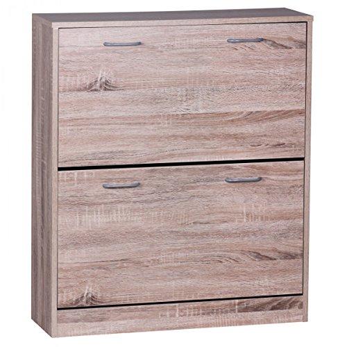FineBuy Schuhkipper Finn Sonoma-Eiche matt 2 Fächer 75 x 87 x 24 cm | Design Holz-Schuhschrank zum klappen | Schuhkommode modern mit Ablage