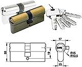 Azbe HS-7 - Cilindro de seguridad (latonado, 35 x 35 mm, leva 15 mm)