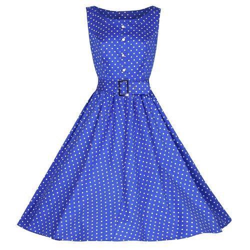 Pretty Kitty Fashion 50s Blue Polka Dot Swing Dress