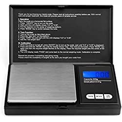 200g/0.01g Balanza de Bolsillo Digital, Ascher Balanza De Precision con Pantalla LCD para Joyería,Oro,Gemas-Báscula electrónica portátil