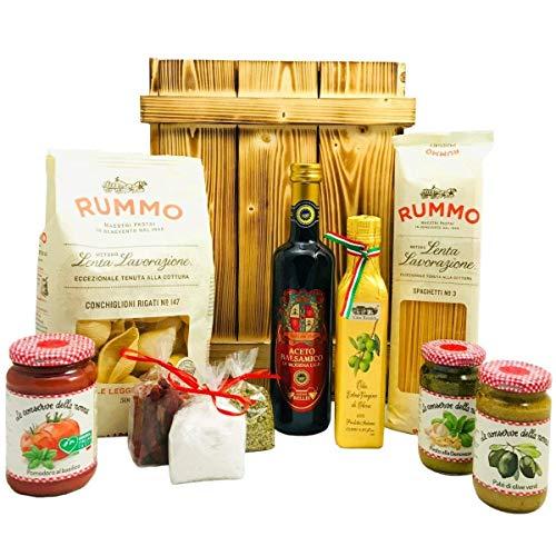 Großes Italienisches Geschenkset mit Holzkiste | Geschenkkorb gefüllt mit Pasta, Olivenöl und italienischen Spezialitäten