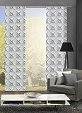 Home Fashion 88147 | 3er-Set Schiebegardinen TRIDO | blickdichter Dekostoff & transparenter Halborganza | 3X jeweils 245x60 cm | Farbe: grau