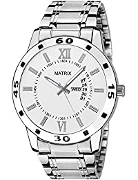 Matrix Analog White Dial,Brown Stainless Steel Strap Day Date Boys & Men Watch-DD-4-WH-ST