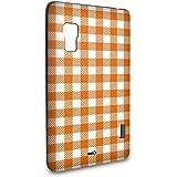 Handyschale Handycase für LG Optimus L5 II E460 veredelt mit YOUNiiK Styling Skin - Vichy Karo Orange