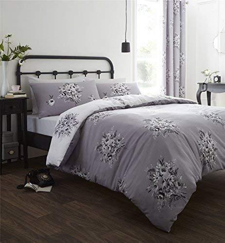 Blumen Bouquet grau weiß King Größe Baumwolle Blend Tröster, Bettbezug (Tröster Set Schwarz Und Grau)