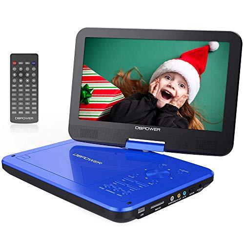 """DBPOWER 10.5"""" Tragbarer DVD-Player mit 5 Stunden Akku, 1024 * 600 Digital TFT Schwenkbaren Bildschirm, unterstützt SD-Karte und USB (Blau)"""