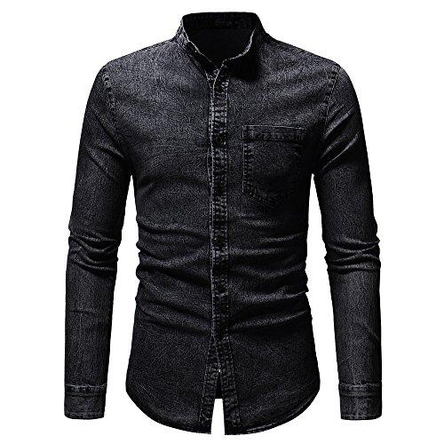 Camicia jeansbeikoard camicetta top in t-shirt a maniche lunghe in denim solido vintage effetto invecchiato autunno inverno da uomo(black,m)