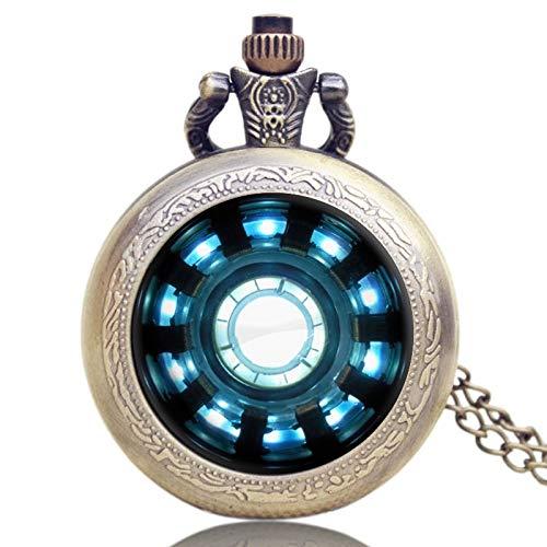 HJKLO Taschenuhr ModeFilme Erweiterung Stark Iron Man Arc Reaktor Jarvis Design Taschenuhr Mit Halskette Kette, Bronze (Ironman-uhr Für Kinder)