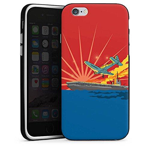 Apple iPhone X Silikon Hülle Case Schutzhülle Flugzeug Schiff Meer Silikon Case schwarz / weiß