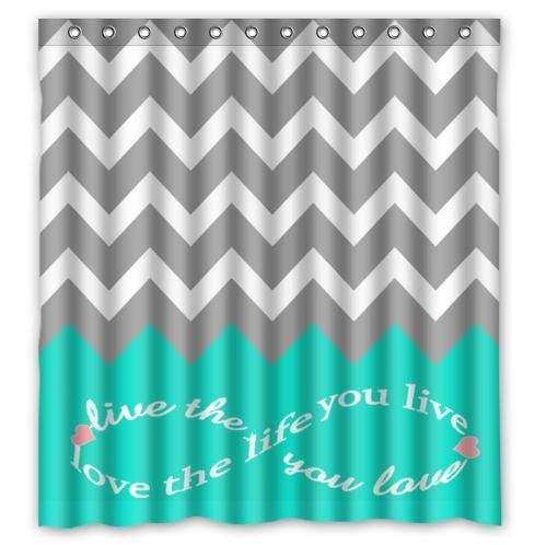 fengxutongxue Infinity Live The Life You Love,Love The Life You Live Pattern Turquoise Grey White Waterproof Bathroom Fabric Shower Curtain,Bathroom Decor 72x72 IN