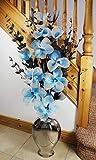 Flourish Silber Bodenvase mit blaugrün blau und weiß künstliche Blumen, Ornamente für Wohnzimmer, Fensterbank, Home Zubehör, 110cm, groß