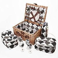 Savisto–4persone cestino da picnic in vimini con Full Set tra