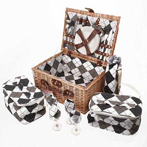 Savisto-cestino da picnic in vimini, per 4 persone, di lusso, con set da picnic completo comprensivo di piatti, posate, bicchieri da vino, borse termiche e sacchetto refrigeratore per vino