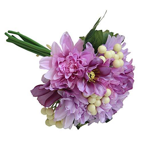 Lazzboy Unechte Blumen,Künstliche Deko Blumen Gefälschte Blumen Blumenstrauß Seide Wirkliches Berührungsgefühlen, Braut Hochzeitsblumenstrauß für Haus Garten Party Blumenschmuck #14(D)