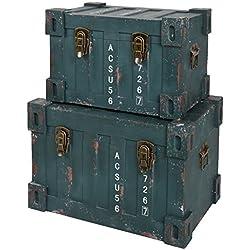 ts-ideen 2er Set Container Industrie Design Grün Kommode Schrank Aufbewahrungskiste Box Truhe Holzkiste