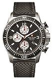 Swiss Alpine Military 7035.9537sam Uhr Schweizer Chronograph Stahl/schwarzes Zifferblatt Silber Armband Leder Schwarz
