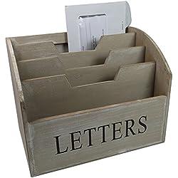 khevga Corbeille à courrier en boisStyle maison de campagne