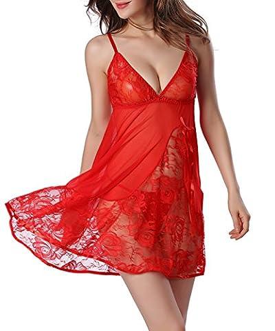 Chickwin Femmes Harnais en dentelle Sous-vêtements Chemises Vêtements de nuit