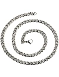 The Jewelbox S Stainless Steel Rhodium Plated Classic Curb Chain For Men 22""