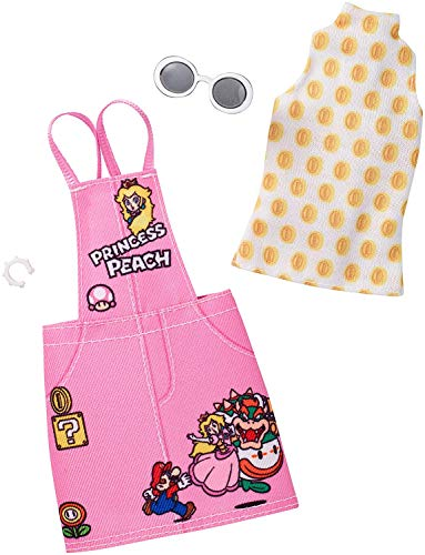 Mattel Barbie FKR84 - Super Mario Kleidung, Mode Set - Kleid pink mit Mario und Princess Peach, inkl. Shirt weiß, Sonnenbrille und Armreif