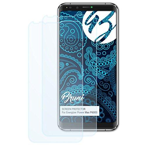 Bruni Schutzfolie kompatibel mit Energizer Power Max P600S Folie, glasklare Bildschirmschutzfolie (2X)