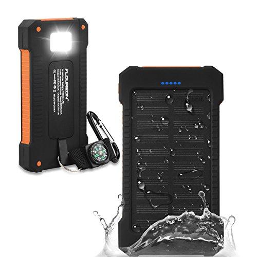FLOUREON Batería Externa Solar Batería de Emergencia Cargador Solar a Prueba de Agua 10000mAh con 2 Puertos USB Brújula y Antorcha LED para Smartphones Samsung iPhone y Tablet - Naranja