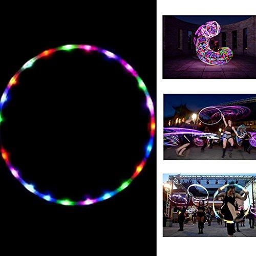 Preisvergleich Produktbild Hula Hoop,  blinkende LED-beleuchteten Twist Hula Cosmic Glow zerlegbar Hoop für Erwachsene Kinder,  Light Up Glow Hula Hoop 90 cm