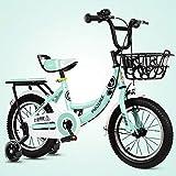Kinderfahrräder , 2-8-jähriges Kinderfahrrad, Jungen-Mädchen-Pedal-Dreirad, Rahmen aus Hartstahl, beleuchtetes Hilfsrad, 4 Größen (12 Zoll / 14 Zoll / 16 Zoll / 18 Zoll) Grün (größe : 18 inches)