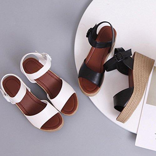 Transer® Damen Kitten-Heel Niedlich Sandalen Flach Sandalen (Bitte achten Sie auf die Größentabelle. Bitte eine Nummer größer bestellen. Vielen Dank!) Schwarz