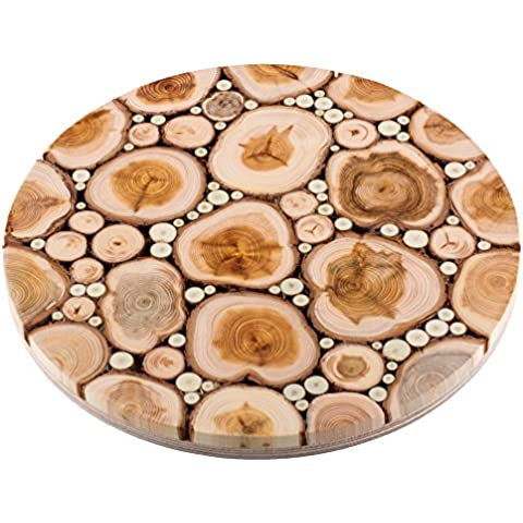 Exclusive Round Wooden Trivet for Hot Dishes - Handmade from Aromatic Juniper Wood - Base from Birch Plywood - Premium Quality Natural Kitchenware - ? 7.1 Inch by Eco Trading Estonia