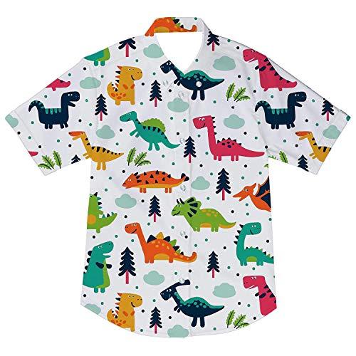 AIDEAONE Jungen Kinder Kleidung Dinosaurier Druck Hemd Kurzarm Weiß Hemden 98-104 cm (Dinosaurier-jungen-kleidung)