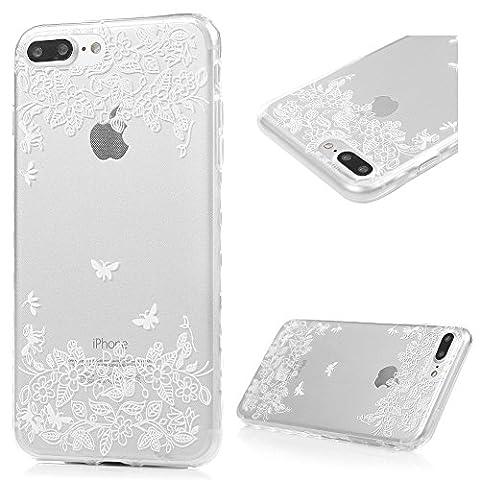 iPhone 7 Plus Hülle Case Kasos iPhone 7 Plus 5.5 Zoll Ultra Dünn TPU Silikon Schutzhülle Handytasche Gemalt Transparent Wellenförmige Border Smart Cover mit Weiße Schmetterlinge Blumen Design