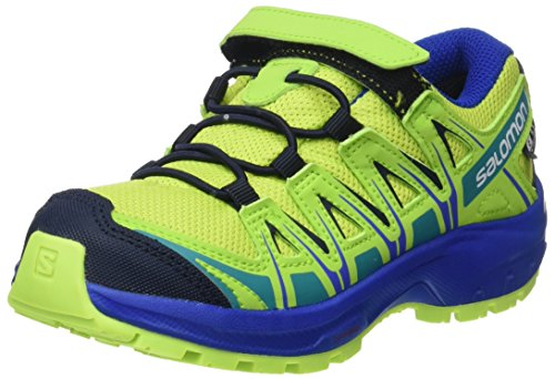 Salomon Kinder XA Pro 3D CSWP J, Trailrunning-Schuhe, Wasserdicht, grün (acid lime / surf the web / tropical green), Größe 28