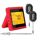 Grill- und Küchenthermometer, LCD-Display, digitale Schaltuhr, Bluetooth, kabelloses Thermometer für Lebensmittel rot