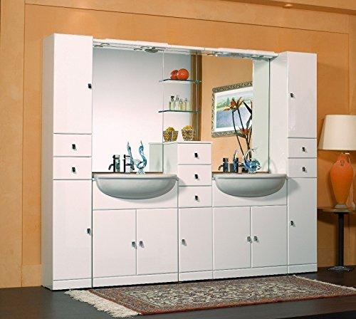 Mobile arredo bagno cleo 30+70+30+70+30 semincasso con doppio lavabo e specchio mobili