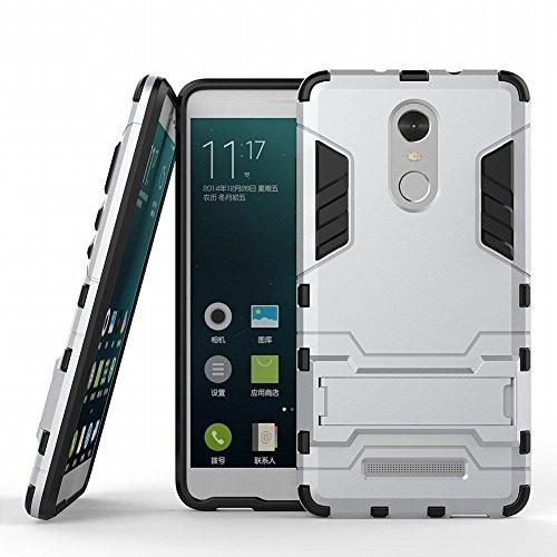 Hülle für Xiaomi Redmi Note 3 / Redmi Note 3 Pro (5,5 Zoll) 2 in 1 Hybrid Dual Layer Shell Armor Schutzhülle mit Standfunktion Case (Silber)