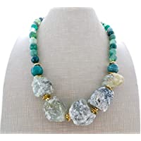 3b8c2525cb84 Collar de agata verde natural y prehnite