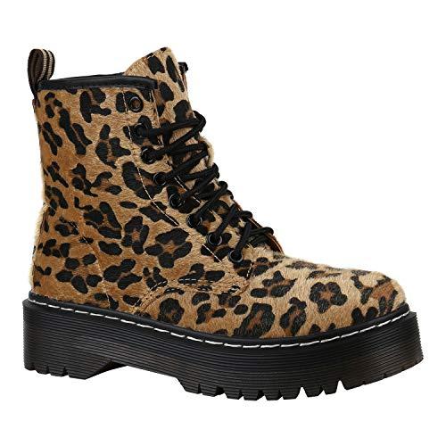 Stiefelparadies Gefütterte Damen Plateau-Boots Profil Sohle Stiefeletten Leopard Prints 36 Flandell