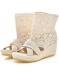 Zapatos de tallas grandes Dichotomanthes final cuña plana sandalias tejidas cool botas sandalias,Beige,42